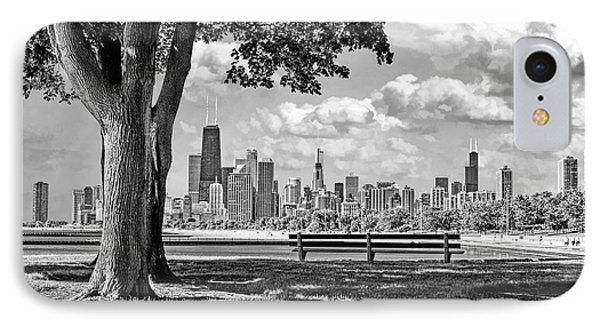 IPhone 7 Case featuring the photograph Chicago North Skyline Park Black And White by Christopher Arndt