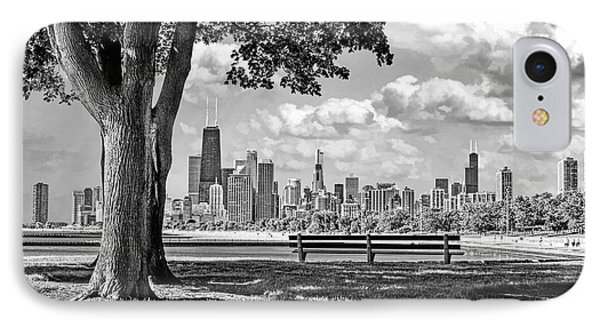 Chicago North Skyline Park Black And White IPhone Case