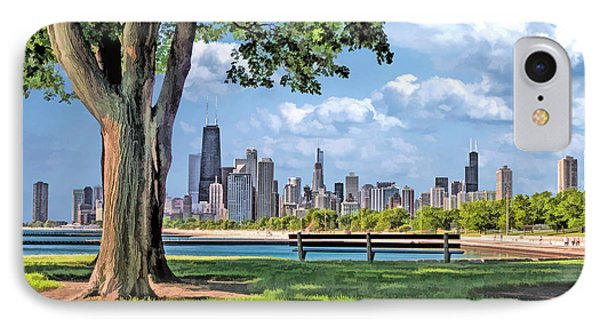 IPhone 7 Case featuring the painting Chicago North Skyline Park by Christopher Arndt