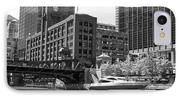 Chicago Parked By The Clark Street Bridge On The River Bw IPhone Case by Thomas Woolworth
