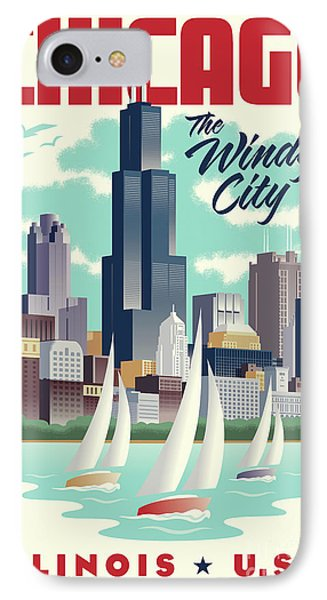 Chicago Retro Travel Poster IPhone Case by Jim Zahniser