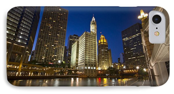 Chicago River And Wrigley Building IPhone Case by Sven Brogren