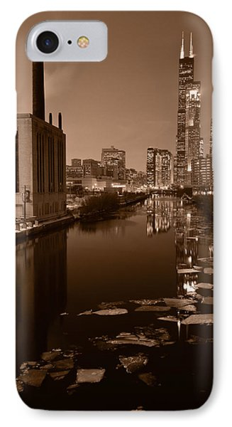 Chicago River B And W Phone Case by Steve Gadomski