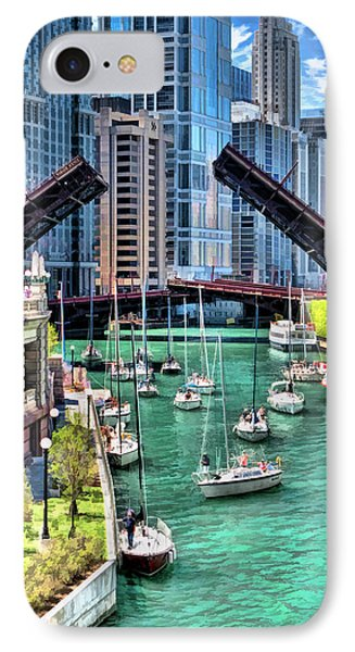 IPhone 7 Case featuring the painting Chicago River Boat Migration by Christopher Arndt