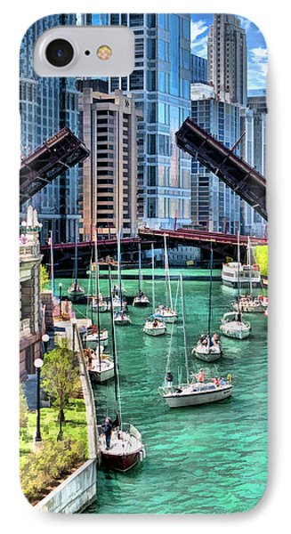 IPhone Case featuring the painting Chicago River Boat Migration by Christopher Arndt