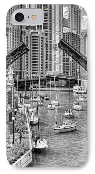 IPhone 7 Case featuring the photograph Chicago River Boat Migration In Black And White by Christopher Arndt