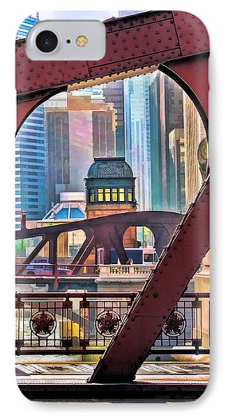 IPhone 7 Case featuring the painting Chicago River Bridge Framed by Christopher Arndt