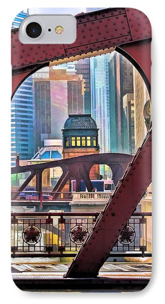 IPhone Case featuring the painting Chicago River Bridge Framed by Christopher Arndt