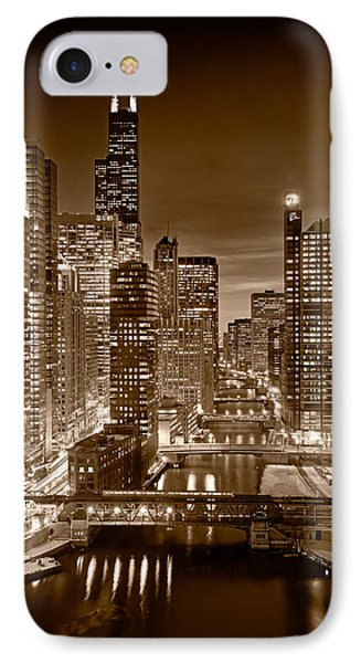 Chicago River City View B And W IPhone Case by Steve gadomski
