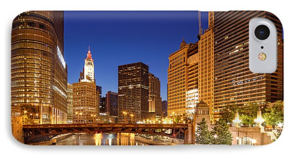 Chicago River Trump Tower And Wrigley Building At Dawn - Chicago Illinois IPhone Case by Silvio Ligutti