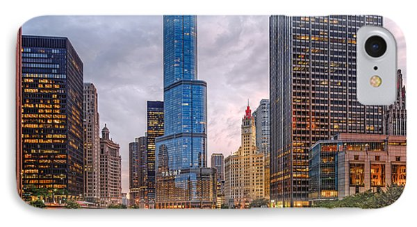 Chicago Riverwalk Equitable Wrigley Building And Trump International Tower And Hotel At Sunset  IPhone Case by Silvio Ligutti