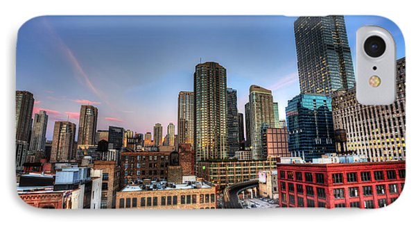 IPhone Case featuring the photograph Chicago Rooftop And Sunset by Shawn Everhart
