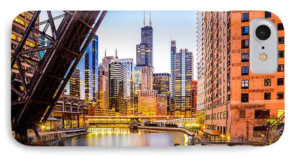 Chicago Skyline At Night And Kinzie Bridge IPhone Case