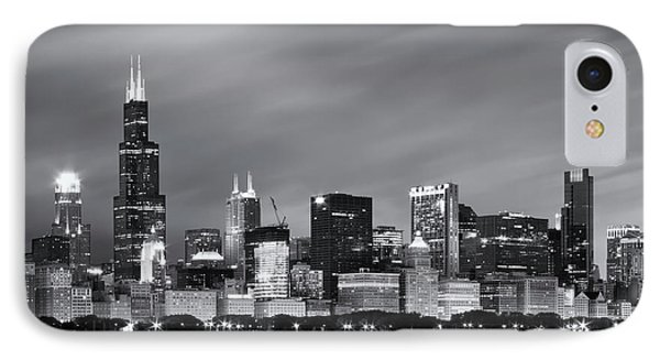 IPhone 7 Case featuring the photograph Chicago Skyline At Night Black And White  by Adam Romanowicz