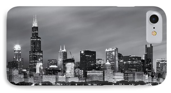 Chicago Skyline At Night Black And White  IPhone Case by Adam Romanowicz