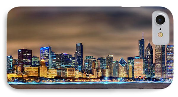 Chicago Skyline At Night Panorama Color 1 To 3 Ratio IPhone 7 Case by Jon Holiday