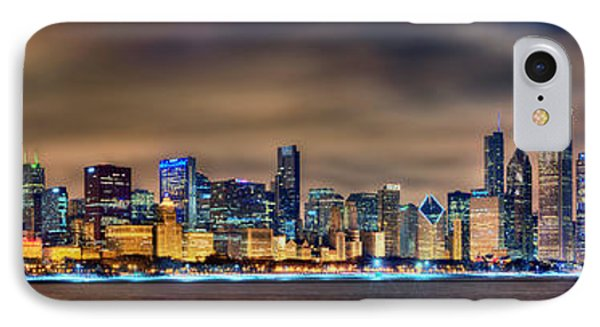 Chicago Skyline At Night Panorama IPhone Case by Jon Holiday