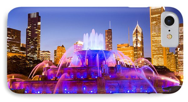Chicago Skyline At Night With Buckingham Fountain IPhone Case by Paul Velgos