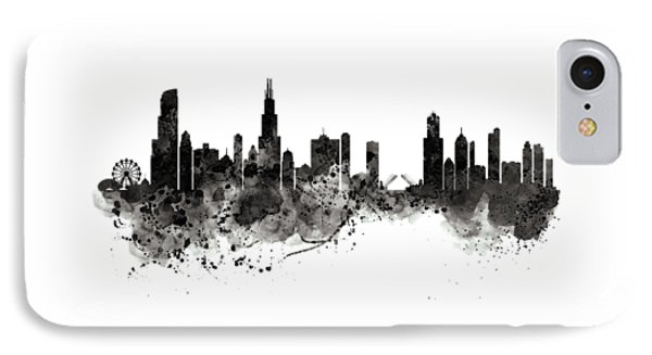 Chicago Skyline Black And White IPhone Case by Marian Voicu