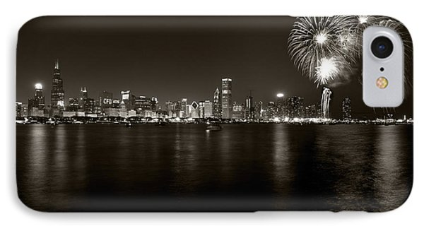 Chicago Skyline Fireworks Bw IPhone Case by Steve Gadomski