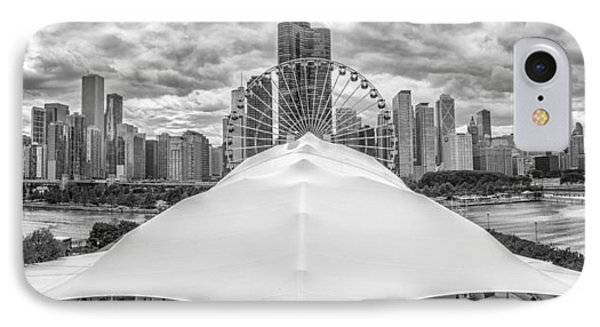 IPhone 7 Case featuring the photograph Chicago Skyline From Navy Pier Black And White by Adam Romanowicz