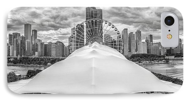 IPhone Case featuring the photograph Chicago Skyline From Navy Pier Black And White by Adam Romanowicz
