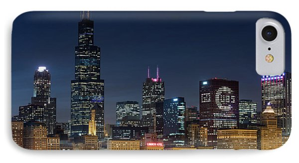 IPhone Case featuring the photograph Chicago Skyline Go Gubs  by Emmanuel Panagiotakis