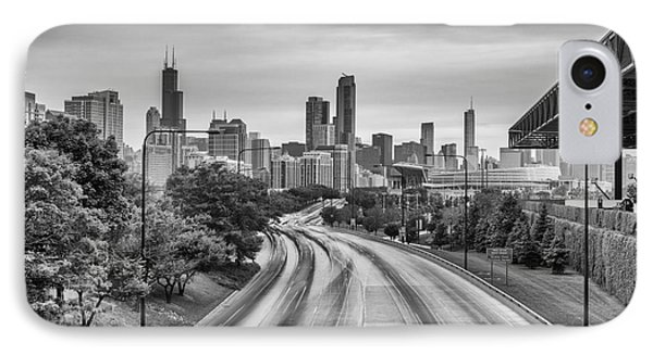 Chicago Skyline In Black And White From The Mccormick Place Pedestrian Bridge Over Lake Shore Drive  IPhone Case