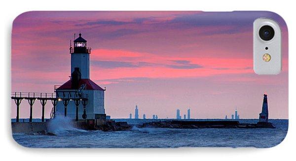 Chicago Skyline Lighthouse IPhone Case by Jackie Novak