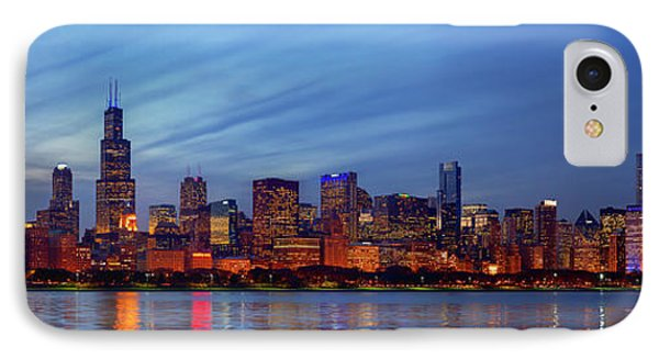 Chicago Skyline Night, Lake Michigan, Chicago, Cook County, Illinois, Usa IPhone Case