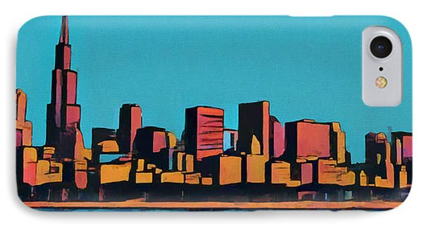 Chicago Skyline Pop Art Panorama IPhone Case by Dan Sproul