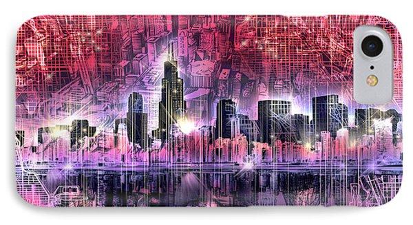 Chicago Skyline Red Version IPhone Case by Bekim Art