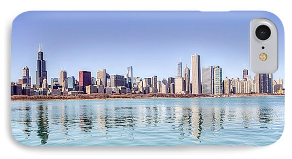 Chicago Skyline Reflecting In Lake Michigan IPhone Case by Peter Ciro