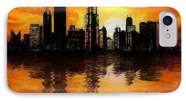 Chicago Skyline Sunset Reflection IPhone Case by Dan Sproul
