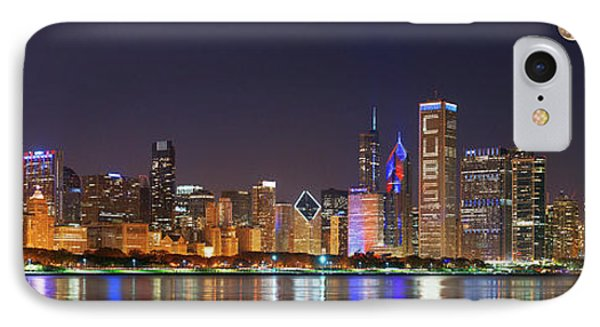 Chicago Skyline With Cubs World Series Lights Night, Moonrise, Chicago, Cook County, Illinois, Usa IPhone Case by Panoramic Images