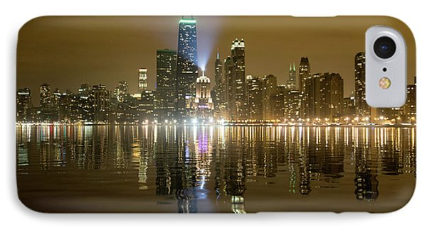 IPhone Case featuring the photograph Chicago Skyline With Lindbergh Beacon On Palmolive Building by Peter Ciro