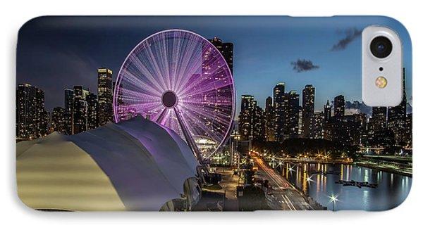 Chicago Skyline With New Ferris Wheel At Dusk IPhone Case by Sven Brogren