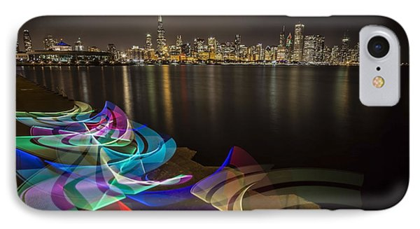 Chicago Skyline With Pixel Stick Painting IPhone Case by Sven Brogren