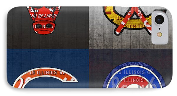 Chicago Sports Fan Recycled Vintage Illinois License Plate Art Bulls Blackhawks Bears And Cubs IPhone 7 Case by Design Turnpike
