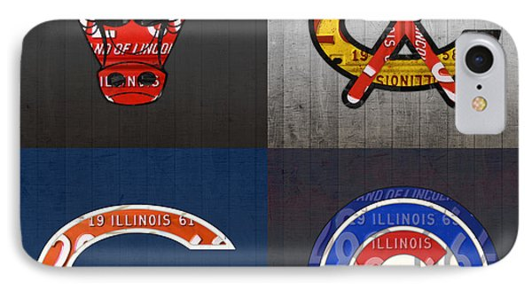 Chicago Sports Fan Recycled Vintage Illinois License Plate Art Bulls Blackhawks Bears And Cubs IPhone Case by Design Turnpike