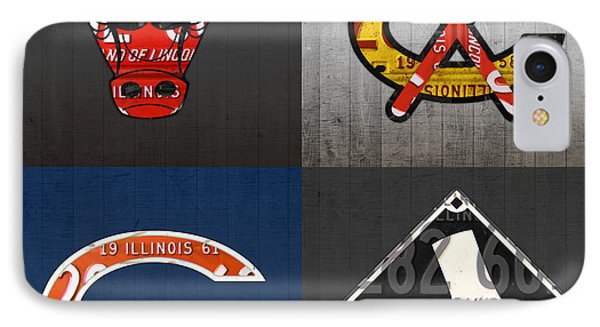 Chicago Sports Fan Recycled Vintage Illinois License Plate Art Bulls Blackhawks Bears And White Sox IPhone Case by Design Turnpike