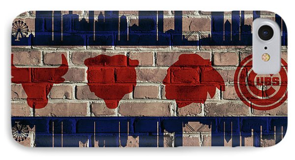 Chicago Sports Team Flag On Brick IPhone Case by Dan Sproul