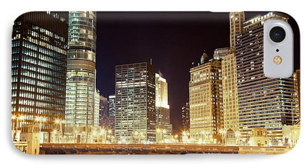 Chicago State Street Bridge At Night Phone Case by Paul Velgos