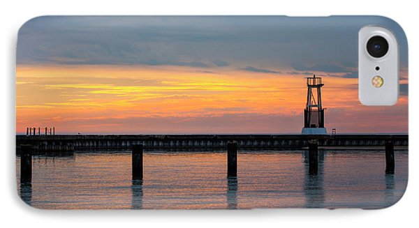 IPhone 7 Case featuring the photograph Chicago Sunrise At North Ave. Beach by Adam Romanowicz