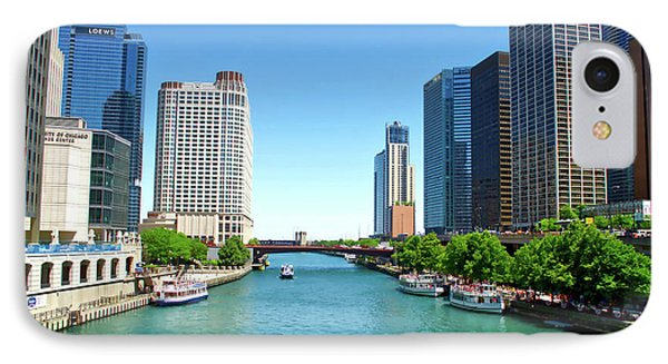 Chicago Tour Boats Parked On The River IPhone Case by Thomas Woolworth