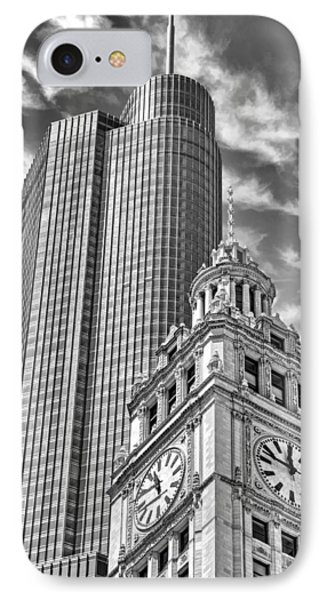 IPhone 7 Case featuring the photograph Chicago Trump And Wrigley Towers Black And White by Christopher Arndt