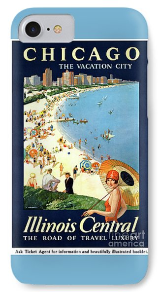 Chicago Vacation City Vintage Poster Restored Phone Case by Carsten Reisinger