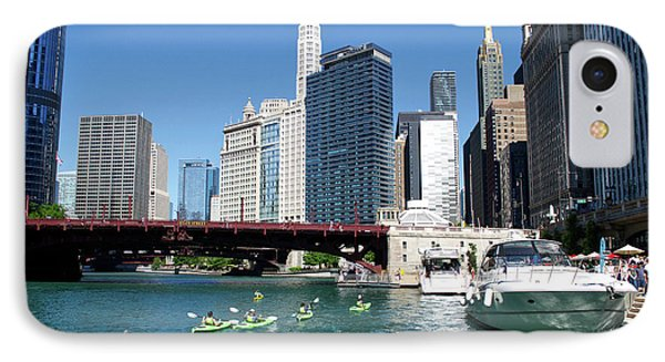 Chicago Watching The Kayaks On The River IPhone Case by Thomas Woolworth