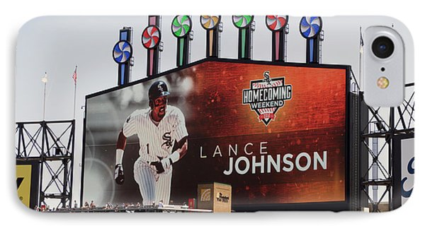 Chicago White Sox Lance Johnson Scoreboard IPhone Case by Thomas Woolworth