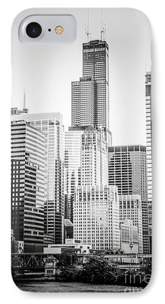 Chicago With Sears Willis Tower In Black And White IPhone Case